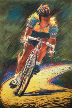 Biker - vibrant graphic fine art sports pastel painting by Jim Grady