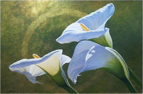 Calla Lilies - Fine art floral oil painting with faux finish background on gilt panel by Jim Grady