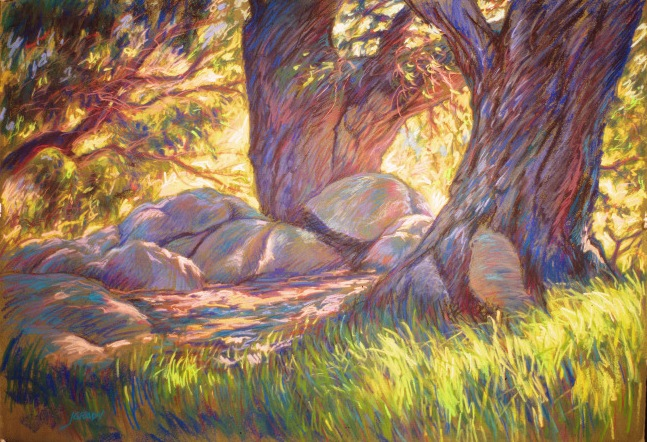 Cuyamaca Shade fine art pastel painting by Jim Grady