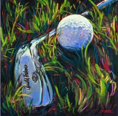 Golf I - vibrant graphic fine art sports pastel painting by Jim Grady