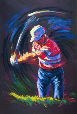 Swing - vibrant graphic fine art sports pastel painting by Jim Grady