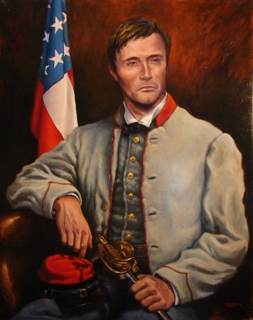 Commissioned Confederate historical oil portrait Texas soldier by Jim Grady
