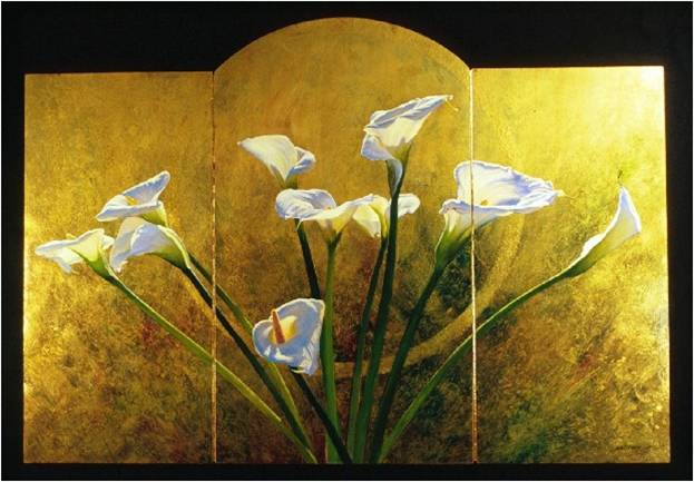 Lily Screen - Fine art triptych oil painting with faux finished background on gilt panels by Jim Grady