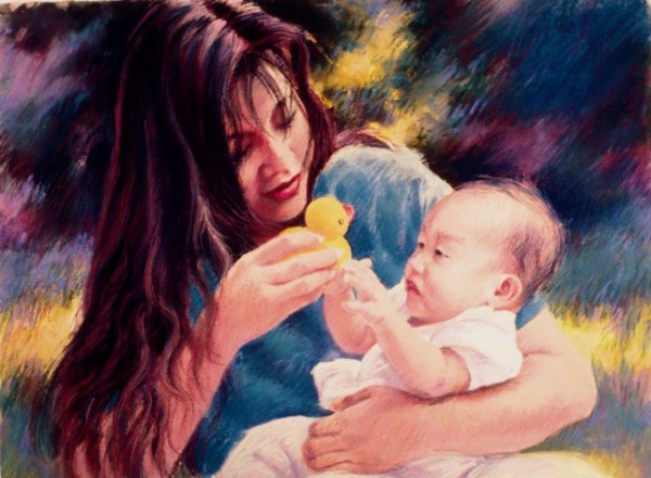 Mother and Baby commissioned maternal fine art pastel portrait of mother and child by Jim Grady