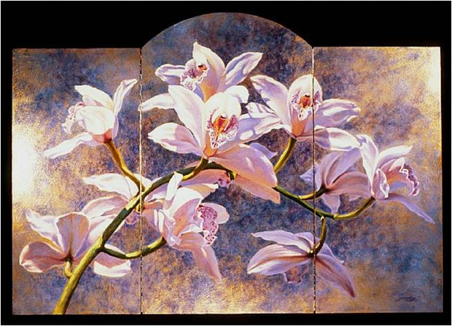 Orchid Screen - Oil on gilt panels