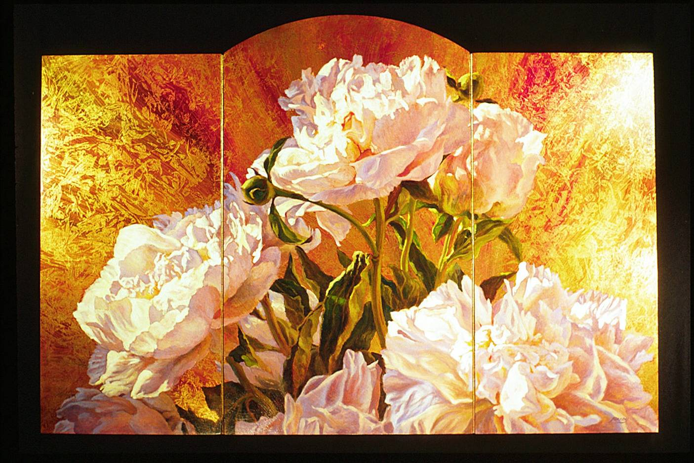 Peonies Screen - fine art triptych oil painting on faux finished gilt panels by Jim Grady