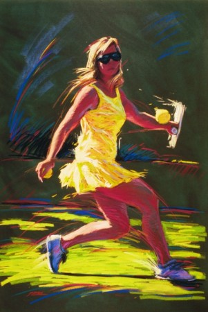 Return - vibrant graphic fine art sports pastel paintings by Jim Grady
