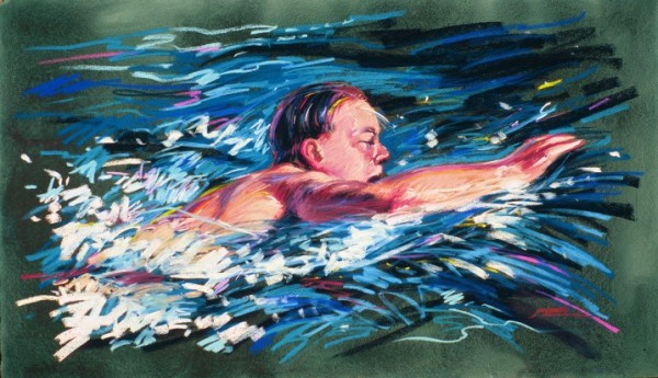 Swimmer - vibrant graphic fine art sports pastel paintings by Jim Grady