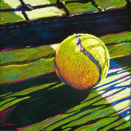 Tennis Ball & Net - vibrant graphic fine art sports pastel painting by Jim Grady