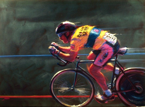 Velodrome - vibrant graphic fine art sports pastel painting by Jim Grady