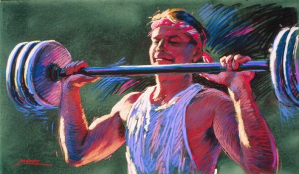 Lift - vibrant graphic fine art sports pastel painting by Jim Grady