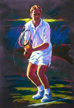 Serve - vibrant graphic fine art sports pastel paintings by Jim Grady